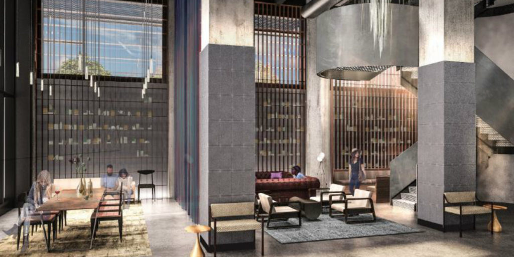 modern and dark steely gray hotel lobby rendering with pin lights hanging from the ceiling